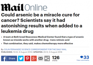 "Headline from the Mail Online reading ""Could arsenic be a miracle cure for cancer? Scientists say it had astonishing results when added to a leukemia drug"""