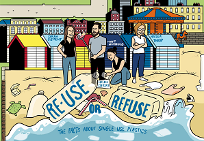 A sketch by @Kemp_Matt of the QED panel: Re-use of Refuse: the facts about single use plastics